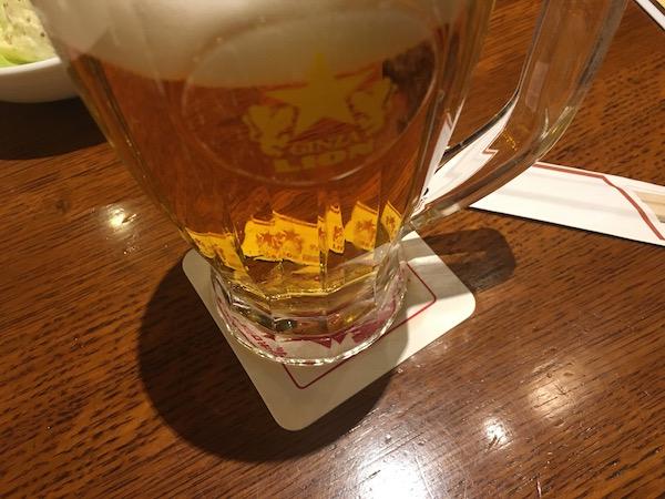 寒い日でしたがライオンにてビール