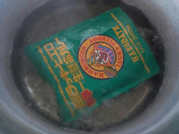 レンチンではなくお湯で温めました